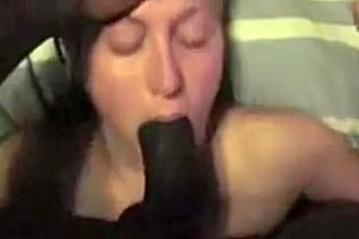 white cheating wife tries to blow dark strapon