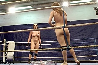 Nude fight club with Eliska Cross and Lisa Sparkle.