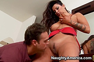 Busty brunette slut cougar Nikita Denise fucked by her son's friend Rocco Reed