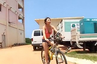 Bicycle ride with sporty Japanese girl Arisa Oda
