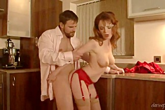 Romantic dinner with a redhead leads to lusty couple fucking