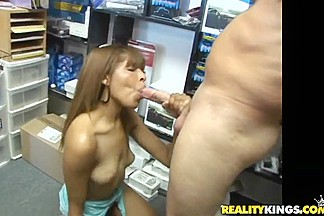 Sexy Latina Anavelle sucking her neighbour Sergio's big dick