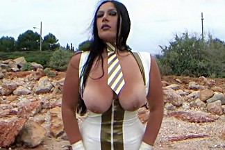 The white Latex Uniform Bitch in the Wind - Outdoor Blowjob Handjob with White Latex Gloves - Fuck my Mouth - Cum on Tits