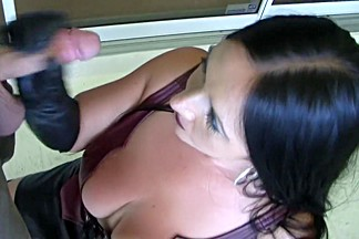 Leather Boots - Blowjob Handjob with long Leather Gloves - Cum in my nasty Mouth
